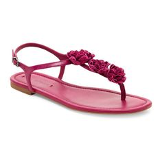 Fuchsia Lola Flat T-Strap Sandals ❤ liked on Polyvore featuring shoes, sandals, t bar flat shoes, t strap sandals, t strap flat shoes, t-strap flat sandals and flat shoes