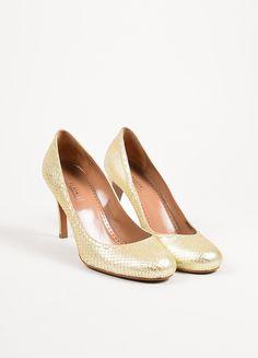Alaia Gold Metallic Snakeskin Top Stitch Round Toe Pumps