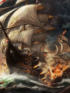 """""""Flower Of Darkness"""": The Superb Fantasy Portraits And Artworks Of KyuYong Eom A few varied photos that I like Sextant Tattoo, Bateau Pirate, Pirate Tattoo, Pirate Art, Pirate Ships, Pirate Crafts, Old Sailing Ships, Ship Paintings, Watercolor Paintings"""