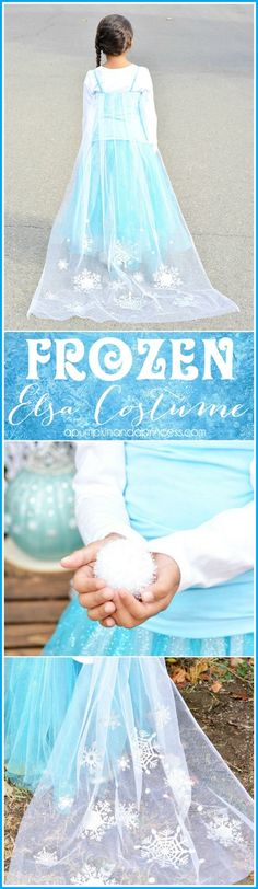 DIY Disney Frozen Elsa Costume - need a last minute Halloween costume? This Elsa costume is easy to make and can be altered into a no-sew costume.