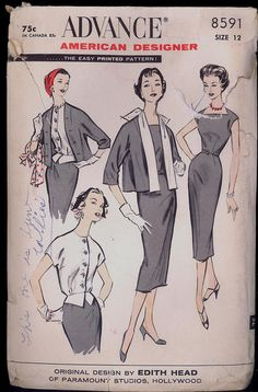 Part Cut 1950s Size 12 Bust 32 Edith Head Dress Jacket Weskit
