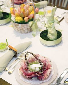 Glittered Cabbage Basket and Bunny Bouquet - Dress up your Easter table with a delightful rabbit centerpiece, cabbage baskets, and carrot-topped napkin rings, all covered in a dusting of glitter.