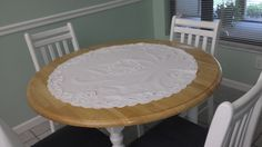 "Vintage 34"" Round Cotton Lace Table topper with cutwork by TeresaScholleDesigns on Etsy"