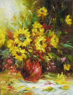 floralart.quenalbertini: Sunflowers Bouquet Art by Marchella   Etsy