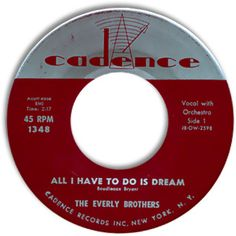 """#1 Song on May 21, 1958 – Everly Brothers' """"All I Have to Do Is Dream"""" – held the #1 spot from May 6 – June 2"""