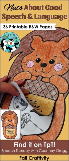 Squirrel/Acorn Craft for speech and language therapy. Great for fall/autumn theme!