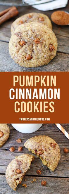Pumpkin Cinnamon Cookies-soft pumpkin cinnamon cookies with cinnamon chips and finished with cinnamon and sugar. These are the BEST pumpkin cookies you will ever eat!
