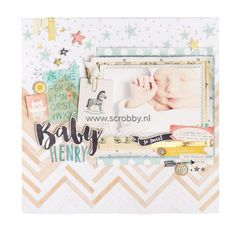 Baby Henry scrapbook layout by Maggie Holmes for Crate Paper Baby Boy Scrapbook, Scrapbook Bebe, Baby Scrapbook Pages, Scrapbook Page Layouts, Scrapbook Paper Crafts, Scrapbook Cards, Crate Paper, Layout Inspiration, Baby Cards
