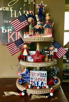My of July tiered tray – Tq Best Shares Fourth Of July Decor, 4th Of July Celebration, 4th Of July Decorations, 4th Of July Wreath, July 4th, Patriotic Crafts, July Crafts, Summer Crafts, Happy Birthday America