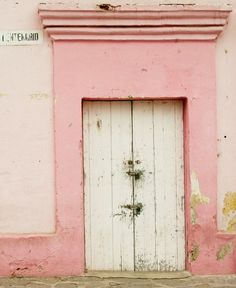 White doors with pink trim. I'm on a bit of a pink door kick. give it a minute, it will pass. Entrance Doors, Doorway, Old Doors, Windows And Doors, Purple Door, I Believe In Pink, Chula, Everything Pink, Pink Walls