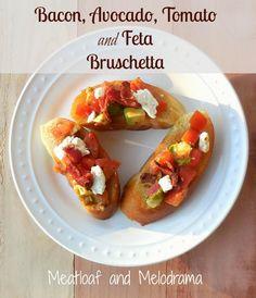 bacon, avocado, tomato and feta bruschetta