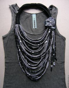 Купить Трикотажное колье Hope - чёрно-белый, шарф, колье, трикотаж, аксессуар, украшение на шею