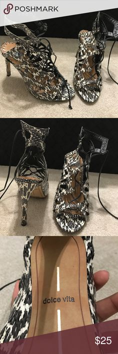 Dolce Vita Snake print lace up heels These heels are so cute! They tie up to your ankle and have a snake print design Dolce Vita Shoes Heels