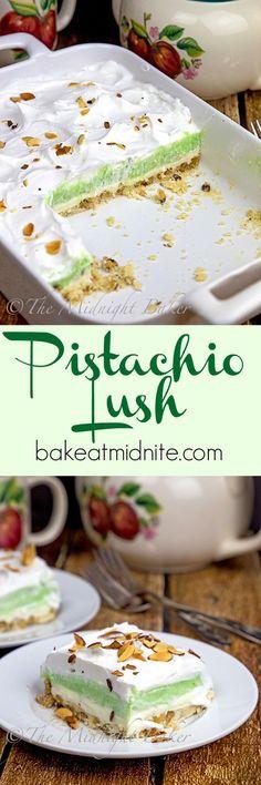 Pistachio recipes - Pistachio Lush The Midnight Baker Pistachio Dessert, Dessert Oreo, Pistachio Recipes, Pistachio Pudding Cookies, Pistachio Fluff, Appetizer Dessert, Dessert Salads, Jello Desserts, Jello Recipes