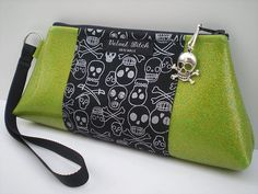 Skull Purse in Lime Green and Black Gothic by VelvetBitchOriginals.  I want this.