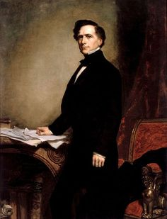 George Healy painted the official White House portrait of Franklin Pierce in 1858 after an earlier sitting in 1853. Description from mowryjournal.com. I searched for this on bing.com/images