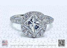 Nina™ Halo Diamond Engagement Ring by Leon Megé