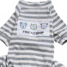 2017 Autumn Stripes Dog Jumpsuit Pajamas Dog Coats Dog Clothes Pet Apparel Gray Pink S-XXL cachorro roupa products for animals Dog Pajamas, Gris Rose, Dog Coats, Pet Clothes, St Kitts And Nevis, Ghana, Laos, T Shirt, Wraps