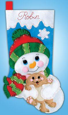 # 5263 Hugs for Kitty Cat Christmas Cards, Christmas Card Template, Felt Christmas Ornaments, Vintage Christmas Cards, Christmas 2019, Christmas Stockings, Felt Crafts, Holiday Crafts, Felt Stocking