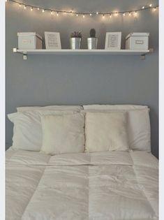 Gray and White Bedroom Decor 40 Gray Bedroom Ideas & Decor Light Blue Walls, Light Gray Bedroom, Master Bedroom, Grey Bedrooms, Bedroom Simple, White Lights Bedroom, Cozy Bedroom, Modern Bedroom, White Bedroom Walls