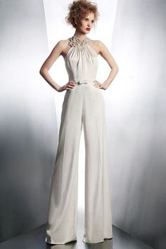 Wide-leg jumpsuit by Gemy Maalouf featuring a halter neckline and bow belt.