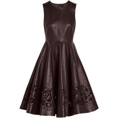 Dolce & Gabbana Cutout leather dress (5 440 AUD) ❤ liked on Polyvore featuring dresses, short dresses, leather, vestidos, платья, burgundy, leather mini dress, red floral dress, floral cocktail dress and floral mini dress