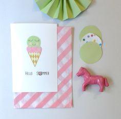 "Carte postale glace ""hello summer"" d'été 10X15 ""Hello summer"" postcard on etsy DiyByM"