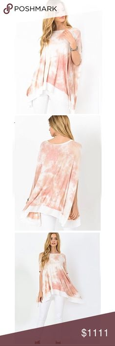 SNEEK PEEK 👀 Blush Tie Dye Top ✳️ LIKE FOR NOTIFICATION OF ITEM'S ARRIVAL ✳️  Tie dye, short sleeve asymmetrical hem tunic in a delicate blush tone. Item is new, direct from maker without tags. Expected arrival in one week. Like this listing to be notified of item's arrival 🙂 1 North 1 South Tops Tunics
