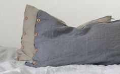 Grey Linen Pillow case With Wooden Buttons. by KnockKnockLinen, £28.00