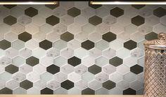 Panache Reto Hexagon Pattern Glass & Marble Tile Kitchen Shower Wall…
