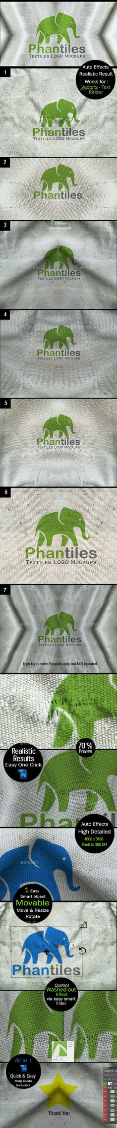 Buy Logo Mockup Set - Vintage Fabrics by Media_Variety on GraphicRiver. Create a highly realistic presentation of your logos in 7 Different Styles with a dynamic movable smart object for th. Graphic Design Fonts, Logo Design, Photoshop, Pencil Illustration, Vintage Fabrics, Print Templates, Background Patterns, Tricks, Retro