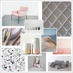 Scandi Grey Linen with Copper Memo Board.  Pink Grey Copper Mood Board