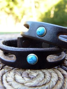 Lil Trinity Native American Turquoise Wrist Band | Boho Leather Stacking Bracelet | Men's Women's Cuff | Tribal Festival Jewelry | Western by SexySkinsLeather on Etsy