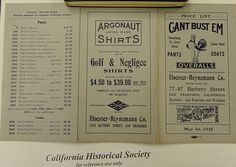 Can't Bust 'Em Overalls & Pants Price List, 1912