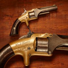 """Mad Harry's Smith  Wesson Model No. 1 - One of the first revolvers to shoot metallic cartridges, the GOTD had a cylinder that held 7 .22 short cartridges. Our example is engraved, """"Mad Harry / Fairfax Court House / July 15th 1861."""" on one side and on the other, """"Lt. Col. HD Townsend / 1st Cavalry."""" Lt. Col. Townsend served in the 1st CT Cavalry  received this revolver 153 years ago today – less than a week before the battle of 1st Manassas on July 21, 1861. NRA Museum in Fairfax, VA"""