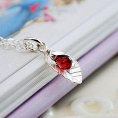 Sterling Silver Necklace Garnet Genuine Red by myfirstjewellery