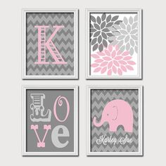 Monogram Child Name Pink Gray Grey Elephant Chevron Flower LOVE Child Nursery Print Artwork Set of 4 Prints Girl Wall Decor Art Picture
