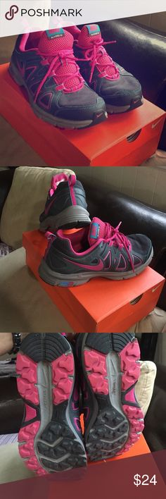 2013 Nike Air Alvord Running Sneakers Gently used running sneakers with pink check mark & blue stitching through the whole sneaker.  My opinion most comfortable running sneaker by Nike Nike Shoes Sneakers