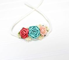 Tropic Delight - beautiful dainty and simple flower headband in raspberry pink, coral pink, turquoise, aqua, peach and cream (RTS) by SoTweetDesigns on Etsy