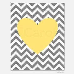 "Yellow Gray White Chevron Nursery Heart Wall Art Print, Boys Girls Kids Family Couple Love Home Room Decor Bold Heart Shape ofCarola 8x10"" on Etsy, $15.00"