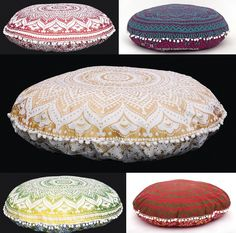 "5 Pcs Lot Ombre Mandala Floor Pillows Indian Round Tapestry Large 32"" Cushion #HandicraftPalace #Traditional #PillowCoverSofaCoverCushionCover"