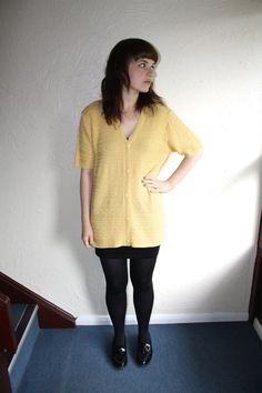 Vintage 70s Yellow Short Sleeved Knitted Cardigan Size Small (10-12) by fromluluwithloveuk on Etsy