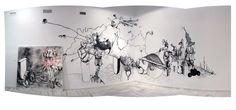 """Est-ce que la mort vous oblie, Poissons de la mélancolie."" Charcoal and Chinese Ink on Wall-VERSUS Individual Exhibition ""Instituto de América, Centro Damián Bayón"" Santa Fe, Granada, Spain (2010) Ivan Izquierdo.  http://ivanizquierdo.es/es/portfolio/mural-%E2%80%9Cest-ce-que-la-mort-vous-oblie-poissons-de-la-melancolie-%E2%80%9D-exposicion-versus/"