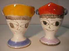 Pair of Vintage Desimone Figural Egg Cups Italian Pottery Piccasso 1964 Date  - I know they look like my work, but honest, I didn't do it.