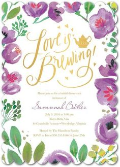 love is brewing : perfect tea party bridal shower invitation invite