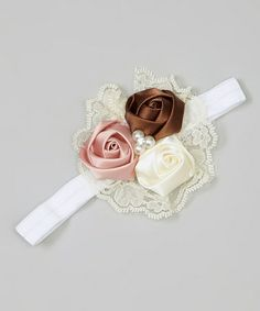 Neapolitan Lace Rosette Headband by Pixie Dust Pretties. Adorable!