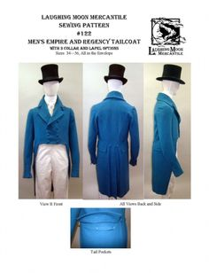 Laughing Moon - Men's Regency Double-Breasted Tailcoat with Collar Notch and Lapel Options Sewing Pattern. Ideal for period costumes and historical reenactment garb. Men's Regency Tailcoat with Collar Notch and Lapel Options This Tailcoat Victorian Ball Gowns, Victorian Corset, Regency Dress, Regency Era, Style Charleston, Clothing Patterns, Sewing Patterns, Men's Clothing, Historical Clothing
