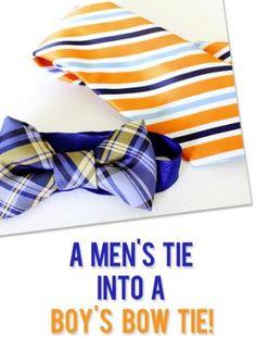 man's tie into a boys bow tie