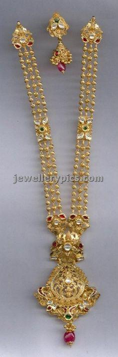 Antique haram -long chain designs (part 2/3) - Latest Jewellery Designs
