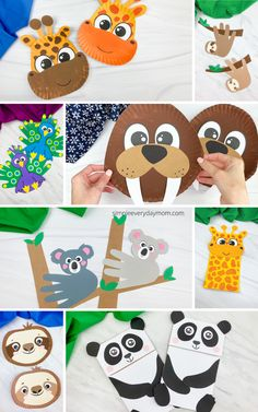 Animal Crafts For Kids, Fun Crafts For Kids, Craft Activities For Kids, Cute Crafts, Projects For Kids, Monkey Crafts, Tiger Crafts, Craft Instructions For Kids, Koala Craft